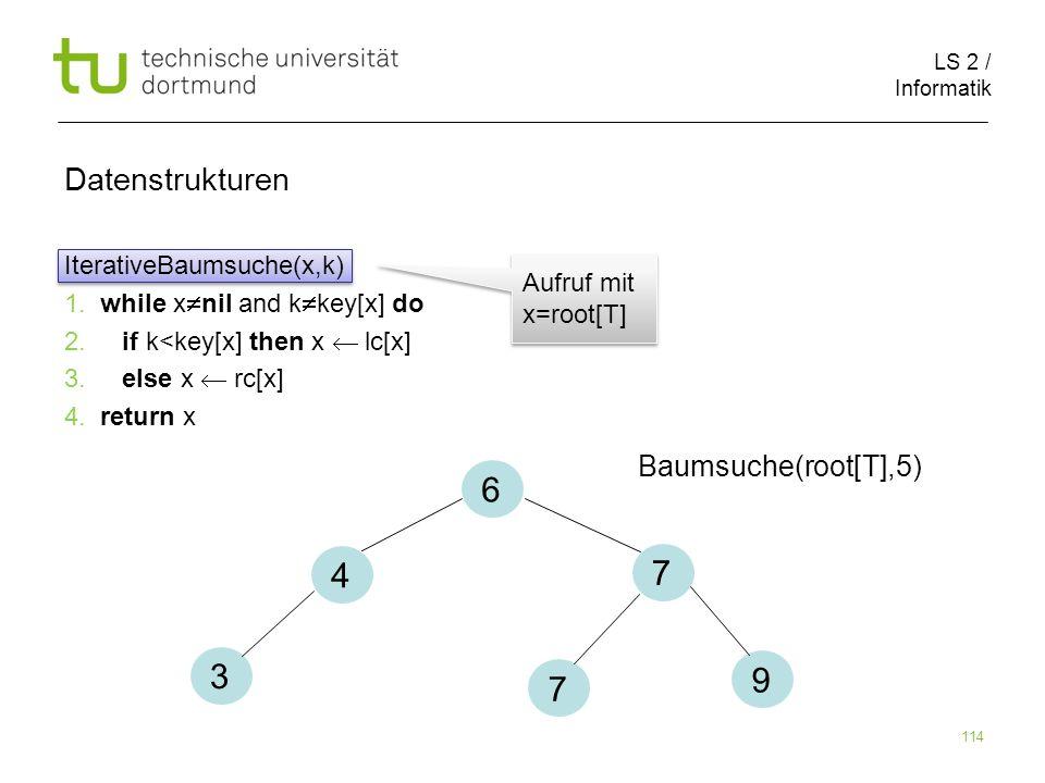 6 4 7 3 9 7 Datenstrukturen Baumsuche(root[T],5)
